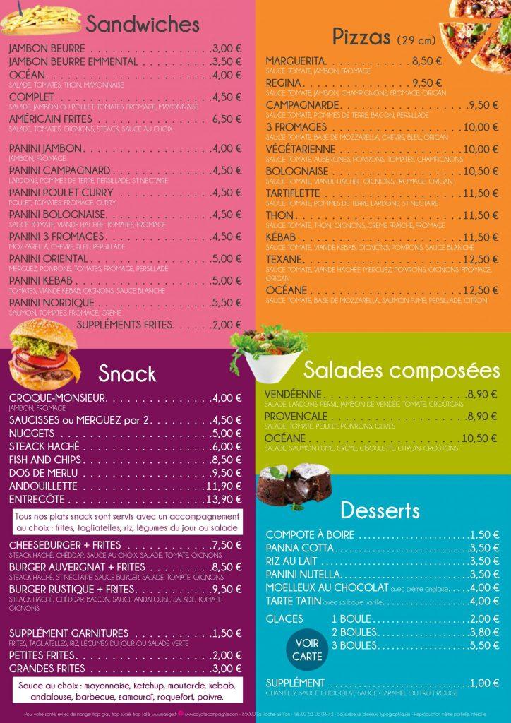 menu restaurant le fenouiller